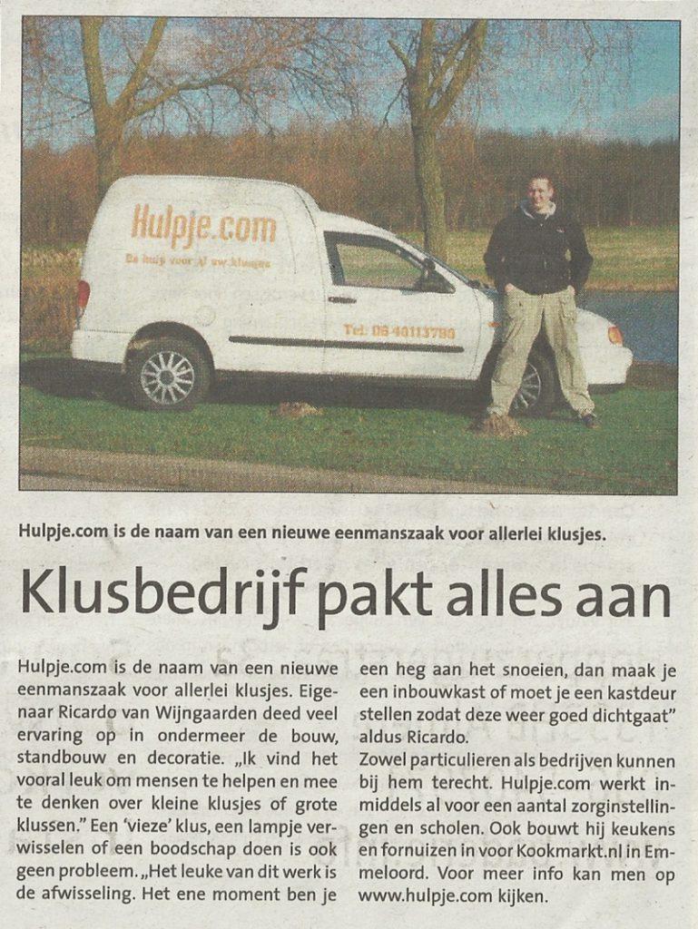 Foto van krantenstukje maart 2011